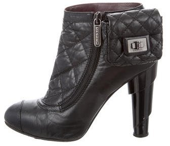 Chanel Pouch-Accented Quilted Leather Ankle Boots