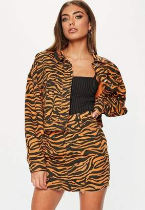 Missguided Orange Zebra Print Denim Skirt Co-Ord, Tan