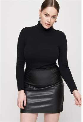 Dynamite High Rise Faux Leather Skirt JET BLACK