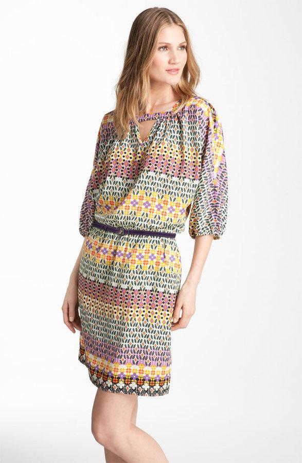 Maggy London Print Blouson Crêpe de Chine Dress