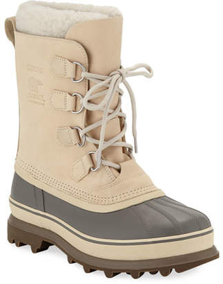 c3cef778ccab Sorel Men s Caribou Faux Sherpa-Lined All Weather Waterproof Duck Boots