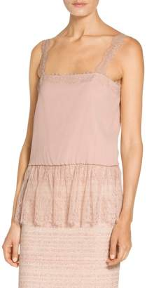 St. John Gathered Lace Crinkle Silk Georgette Camisole