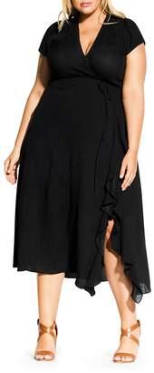 City Chic Plus Be Free Faux-Wrap Dress
