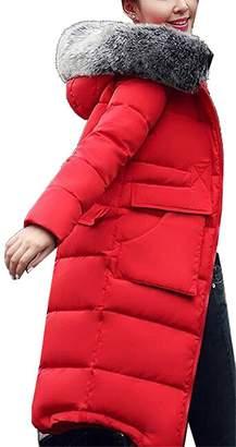 Pilusooou Wool and Pea Coats Pilusooou Women Fashion Hooded Big Wool Collar Thick Down Coat