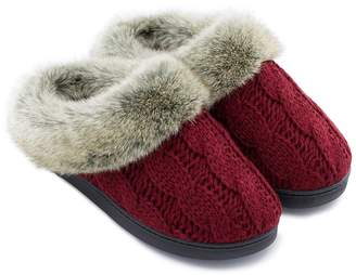 ULTRAIDEAS Women's Soft Yarn Cable Knit Slippers Memory Foam Anti-Skid Sole House Shoes w/Faux Fur Collar, Indoor & Outdoor (Large/9-10 B(M) US, )
