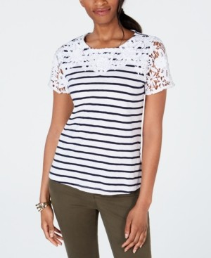 Charter Club Petite Embroidered Striped Top, Created for Macy's