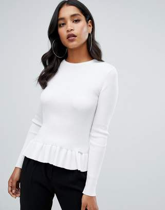 Lipsy ribbed sweater with pephem in ivory
