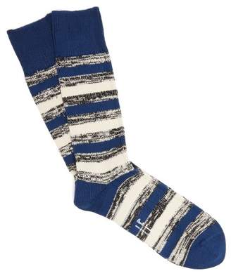 Paul Smith - Striped Cotton Blend Socks - Mens - Blue