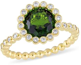 Concerto Gold Gemstone 14k Yellow Gold Cocktail Ring with Chrome Diopside and 0.25 CT. T.W. Diamonds