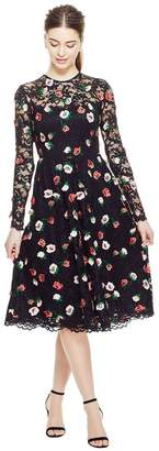 Lela Rose Floral Embroidered Lace Long Sleeve Full Skirt Dress