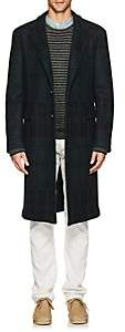 Massimo Alba Men's Plaid Wool Melton Overcoat - Navy