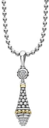 "Lagos Silver & 18k Gold Diamond Caviar Pendant Necklace, 18""L"