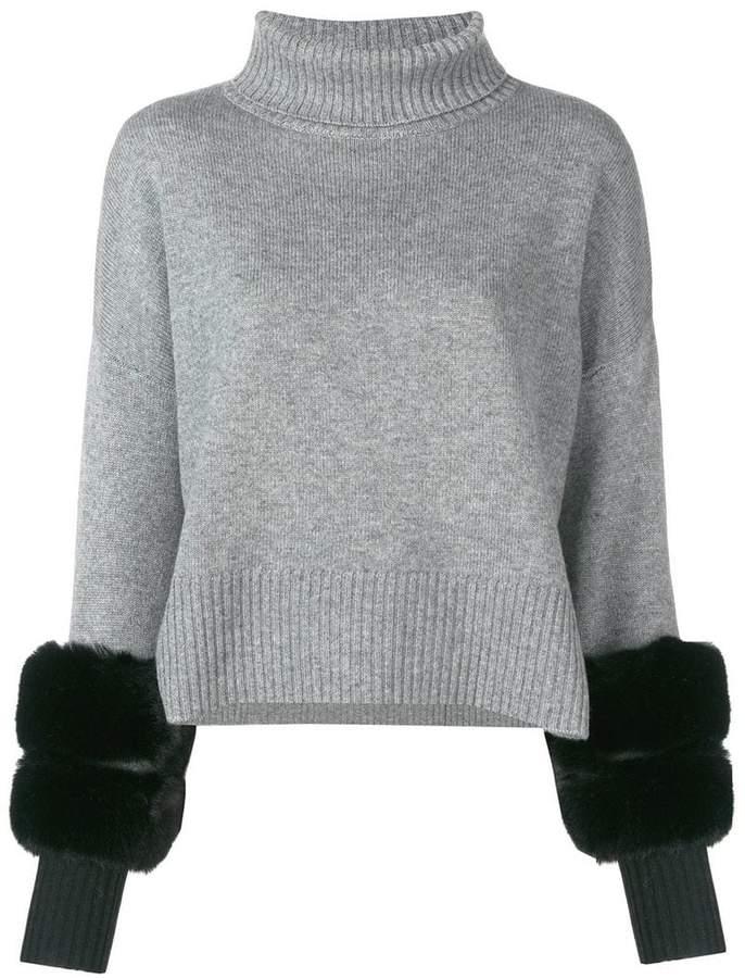 Izaak Azanei cropped fur cuff sweater
