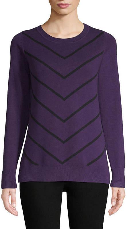 LIZ CLAIBORNE Liz Claiborne Long Sleeve Crew Neck Chevron Pullover Sweater