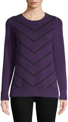 Liz Claiborne Long Sleeve Crew Neck Chevron Pullover Sweater
