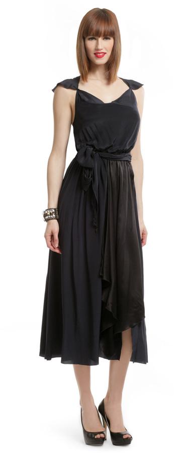 Gryphon Navy Silk Wrap Dress