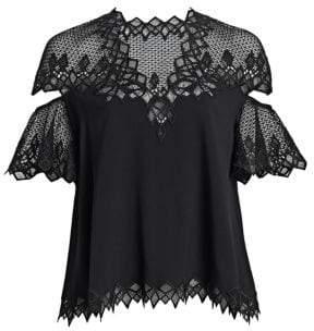 Jonathan Simkhai Diamond Lace Applique Flutter-Sleeve Top