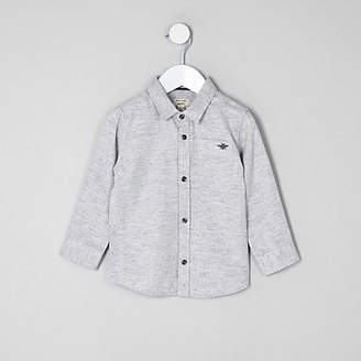 River Island Mini boys grey herringbone shirt