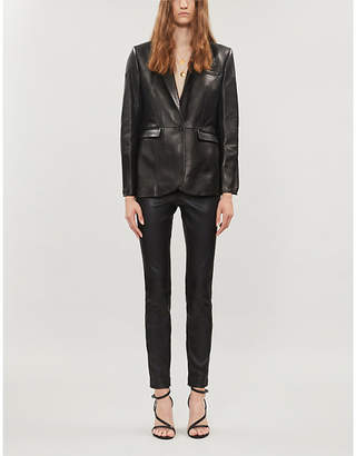 The Kooples Notch-lapel leather blazer