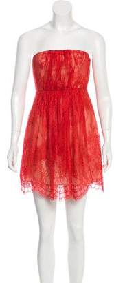 Tibi Strapless Lace Mini Dress