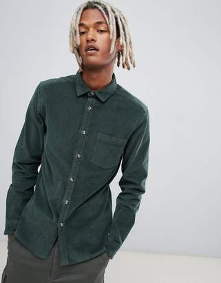 Asos DESIGN slim fit stretch cord shirt in green