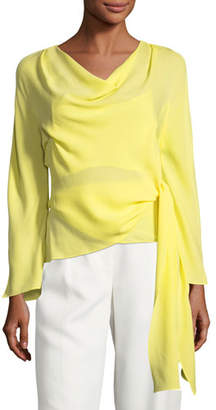 Narciso Rodriguez Cowl-Neck Wrap Silk Blouse