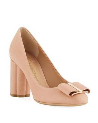 Salvatore Ferragamo Capua 85 Pebbled Leather Flower-Heel 85mm Pumps