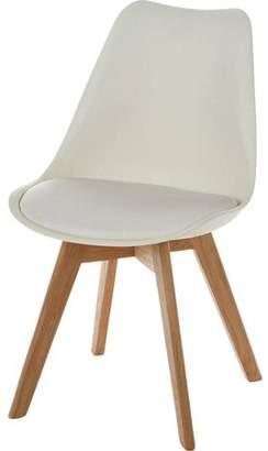 PoliVaz Leather Seat Plastic Side Chair with Solid Oak Legs