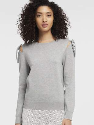 DKNY Tie-Sleeve Cold Shoulder Pullover