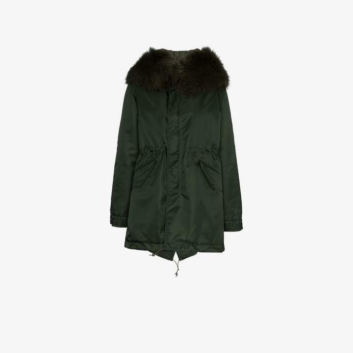 Hooded fur-collar parka coat