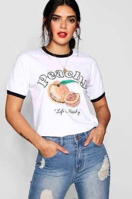 boohoo Peachy Slogan Ringer Crop Tee
