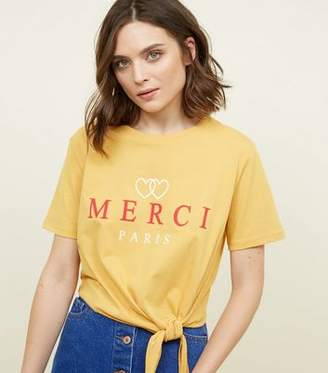 New Look Yellow Merci Heart Print Tie Side T-Shirt
