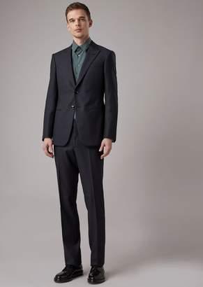 Giorgio Armani Regular-Fit Full Canvas Trader Blu Line Garment In Checked Crepe