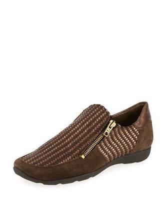 Sesto Meucci Ganice Woven Zip-Up Sneaker, Brown/Bronze $295 thestylecure.com