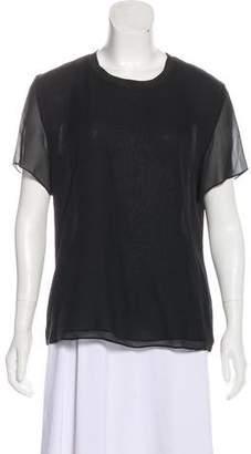 Theyskens' Theory Short Sleeve Silk Top