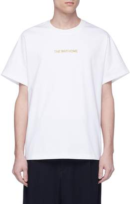 Feng Chen Wang 'The Way Home' slogan embroidered cutout yoke T-shirt