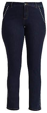 Marina Rinaldi Marina Rinaldi, Plus Size Women's Marina Sport Idioma Studded Slim Fit Jeans