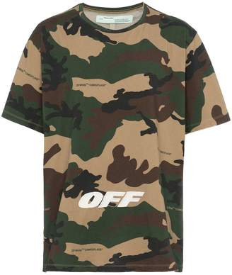 Off-White camouflage t shirt with text