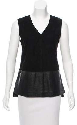 Vince Leather Sleeveless Top