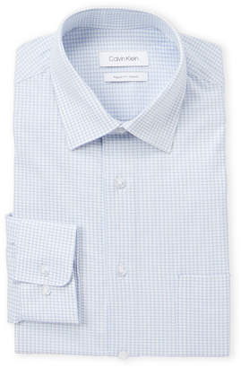 Calvin Klein Blue Cloud Grid Print Stretch Shirt