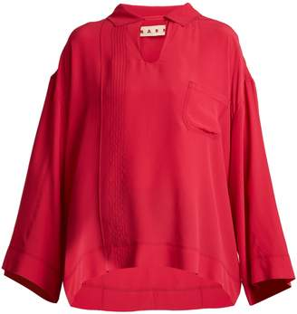 Marni Point-collar washed-crepe top
