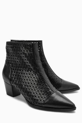 Next Womens Black Weave Ankle Boots