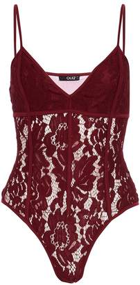 Quiz Berry Lace Corset Strappy Bodysuit
