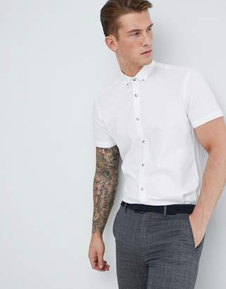 Moss Bros Extra Slim Short Sleeve Oxford Shirt In White