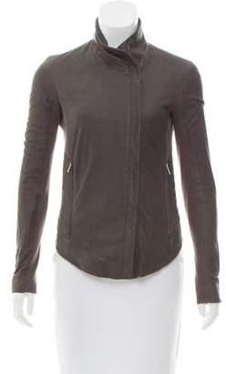 Helmut Lang Knit-Trimmed Leather Jacket