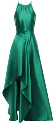 Badgley Mischka Draped Duchesse-satin Gown