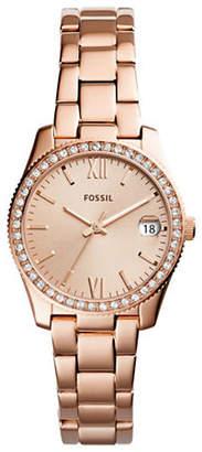 Fossil Scarlette Rose Goldtone Stainless Steel Link Bracelet Watch