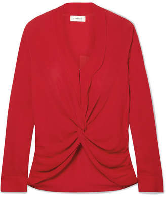 L'Agence Mariposa Twisted Silk Crepe De Chine Blouse - Red