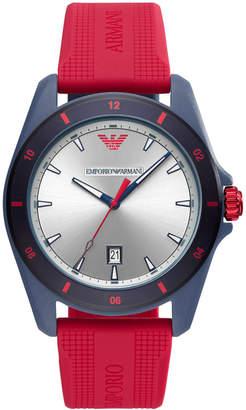 d4e03e301ab at Macy s · Emporio Armani Men Red Silicone Strap Watch 44mm