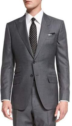TOM FORD O'Connor Base Irregular Canvas Two-Piece Suit, Gray $3,990 thestylecure.com